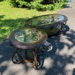Matching Metal and Glass Coffee Table and Side Table Set