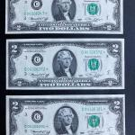 Set of three 1976 $2 dollar federal STAR note bills uncirculated. Lot A27