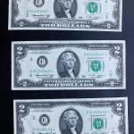 Set of three 1976 $2 dollar federal STAR note bills uncirculated. Lot A26