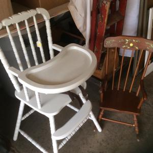 Photo of White high chair and child's rocking chair