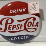 """14½"""" round Pepsi Cola Metal Button Sign -Item# 681"""