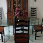 Vintage 80s dining room glass table and ladderback chairs