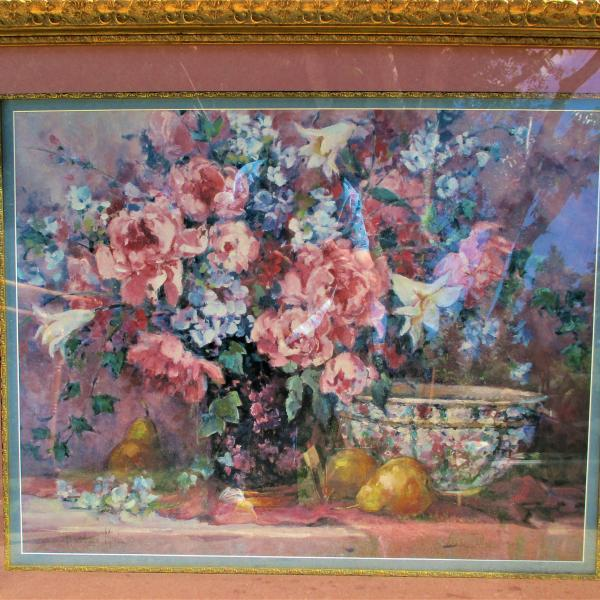 """Photo of 37"""" Wide x 31"""" Tall Gold Framed Floral Wall Hanging Picture for Pick Up Only"""