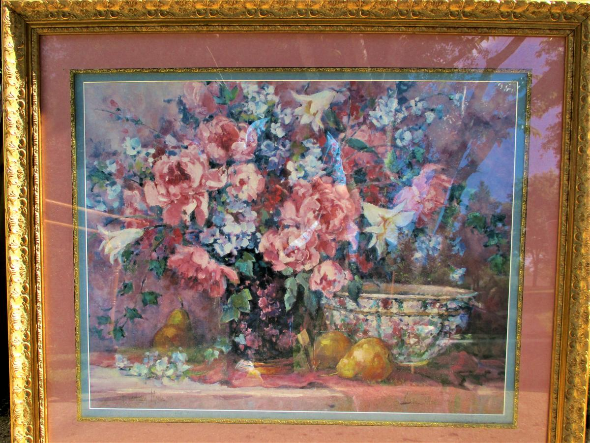 """Photo 1 of 37"""" Wide x 31"""" Tall Gold Framed Floral Wall Hanging Picture for Pick Up Only"""