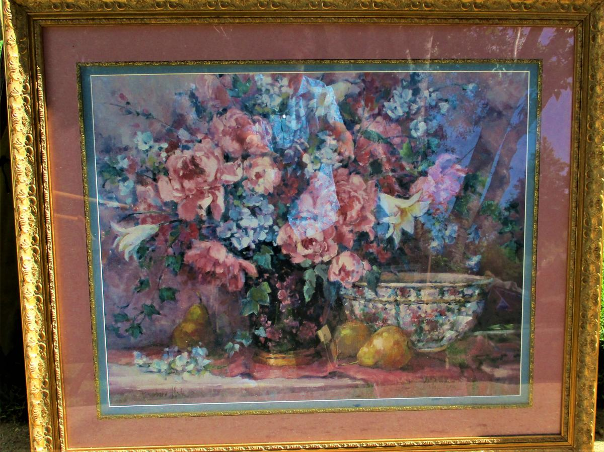 """Photo 2 of 37"""" Wide x 31"""" Tall Gold Framed Floral Wall Hanging Picture for Pick Up Only"""