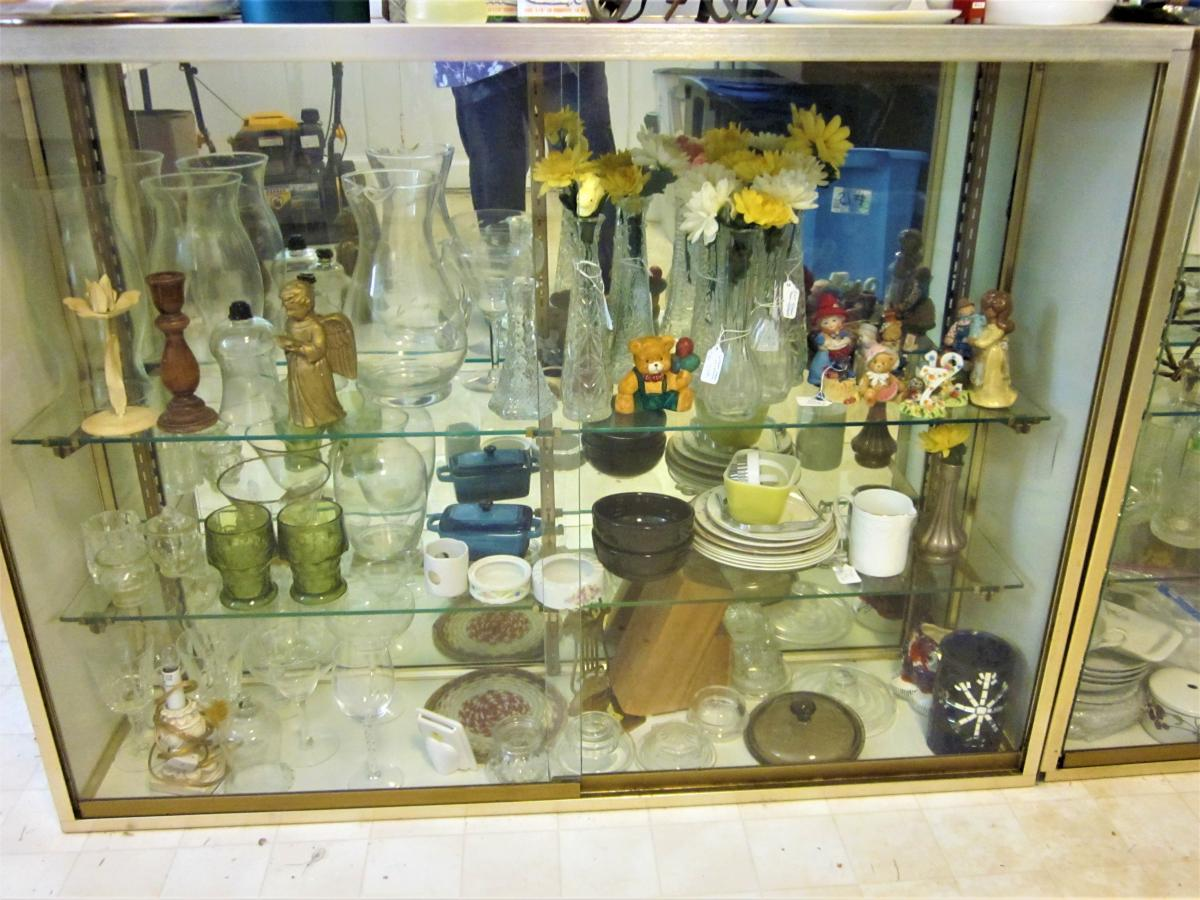 Photo 1 of 2 Mirrored Back, Sliding Glass Door, Glass Shelves DISPLAY Case PICK UP