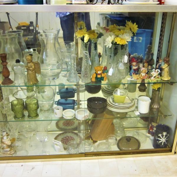 Photo of 2 Mirrored Back, Sliding Glass Door, Glass Shelves DISPLAY Case PICK UP