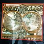 Framed metallic globe print