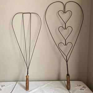 Photo of 2 Unique wire carpet rug beaters twisted wire wood handle