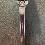"""Godinger Large Silver Plated Holiday Serving Spoon Father Christmas Santa 12"""""""