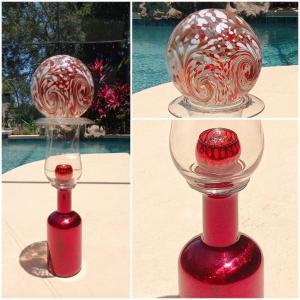 """Photo of 35"""" Tall Metallic Garden Sculpture Glass Art"""
