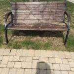 Wooden and heavy cast iron bench