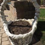 large  concrete flower  basket.