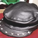 Women's Motorcycle Hat, One SZ Adjustable, Genuine Leather