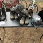 Equestrian boots and helmets