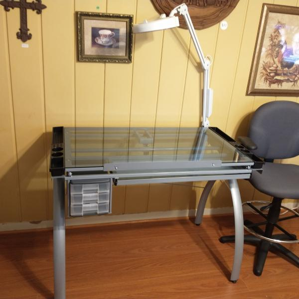 Photo of Drafting Table, Magnifying Light & Chair