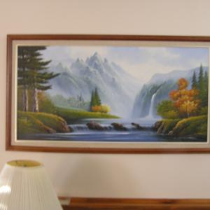 Photo of Vintage Painting Signed in Wood Frames Blue Water Fall , Etc