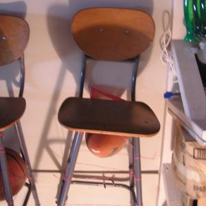 Photo of Step Stool Wooden Seat/Back Chairs with Metal Legs