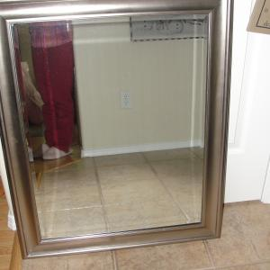 Photo of LOVELY WALL MIRROR (WITH HANGING ATTACHMENT) IN BRUSHED NICKEL FRAME