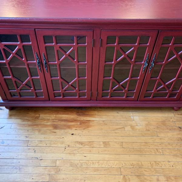 Photo of Red Distressed Style Wooden Credenza
