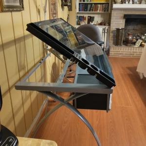 Photo of Drafting Table, Chair & Light w Magnifying Glass