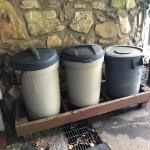 Lot 244 - Three Rubbermaid Trash Cans