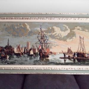Photo of Framed Vintage Needlepoint Wall Tapestry