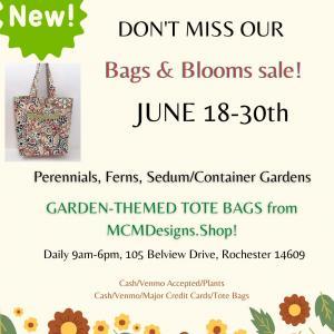 Photo of Bags & Blooms Sale: Perennials, Sedum Gardens, Garden-Themed Tote Bags!