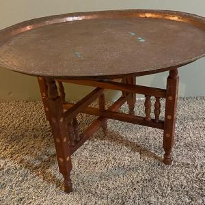 """Photo of Vintage Solid Copper etched table top~Middle East~ 27"""" w/ folding tray legs1900s"""