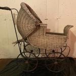 """Antique early 1900s wicker pram baby doll carriage 33"""" long"""