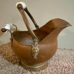Photo of Antique Copper Coal Scuttle Hod Ceramic Handle Brass Lions Head