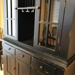 """Black """"distressed"""" dining set with hutch"""