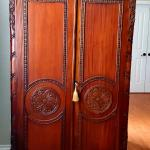 Antique Mahogany Handcarved Armoire and Bedroom Set