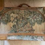 """Vintage French Company """"Paradise"""" Tapestry & Suede 24"""" Suitcase"""