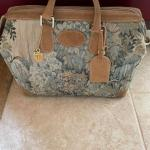 """Vintage French Company """"Paradise"""" Tapestry & Suede Small Satchel"""