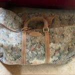 """Vintage French Company """"Paradise"""" Tapestry & Suede Large Satchel"""