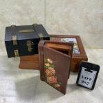 -287- VINTAGE   Three Lined Wood Boxes   Hand Painted