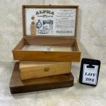 -292- VINTAGE   Three Wood Boxes   Alpha Medical Equipment