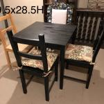 """Ikea 28"""" square dining table with 4 chairs"""