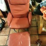 Ikea red leather chair and ottoman