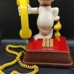 #152 Vintage SNOOPY & WOODSTOCK 1966 PHONE - PUSH BUTTON