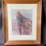 Framed Sea Captain at the Helm Framed Print