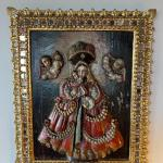 Item 2. RARE Tabladilla  Virgin of Guápulo, with angels, painted carved relief