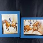 Pair of Horse and Rider Watercolor Paintings