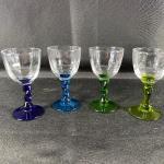 Set of 4 Green Blue Stem Cordial Glasses
