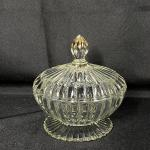 Vintage Clear Glass Ribbed Candy Dish