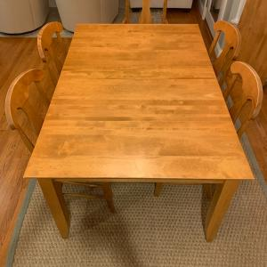 Photo of Beautiful handcrafted dining table with 4 chairs and a bonus arm chair