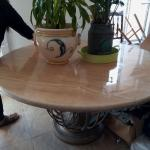 Italian marble table with 4 wrought iron chairs