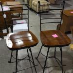 Lot of 2 Swivel Bar Stools wrought iron and wood  -Item #498