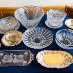 Lot 186  Group of Vintage Clear Glass & Silver Plate Table Ware